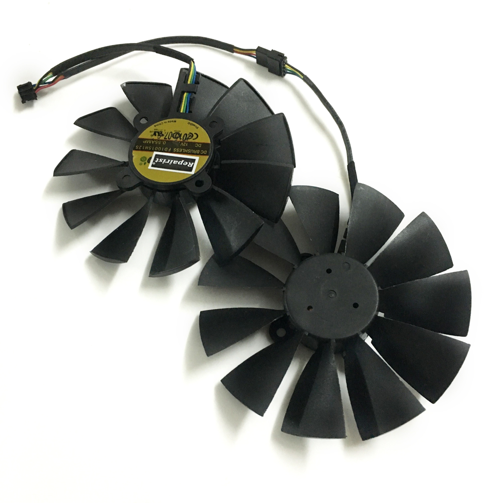2pcs/lot R9 285/280 GPU Cooler VGA fan for ASUS STRIX-R9285 STRIX-R9280-OC video Graphics Card cooling as replacement computer vga gpu cooler rog strix rx470 dual rx480 graphics card fan for asus rog strix rx470 o4g gaming video cards cooling