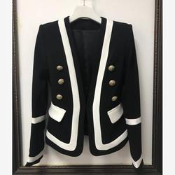 Новая мода 2018 Дизайнер Блейзер Для женщин Классические черные и белые Цвет блок металлические пуговицы блейзер