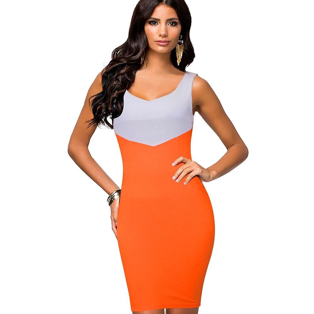 7b7e8431869 Повседневное Лето Для женщин носить на работу офис Бизнес контракт с  цветными блоками без рукавов бинты