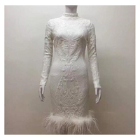 2017 Winter Bodycon White Feather Hem Midi Cocktail Lace Sequins High Neckline Celebrity O Neck Long