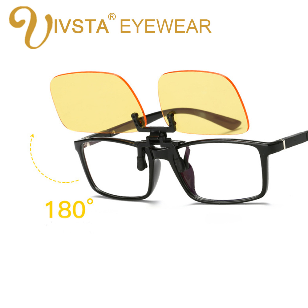 IVSTA Anti Blue Rays Computer Glasses Clips Men Flip Clip On Yellow color for Computer Protection Gaming Glasses UV400 radiation