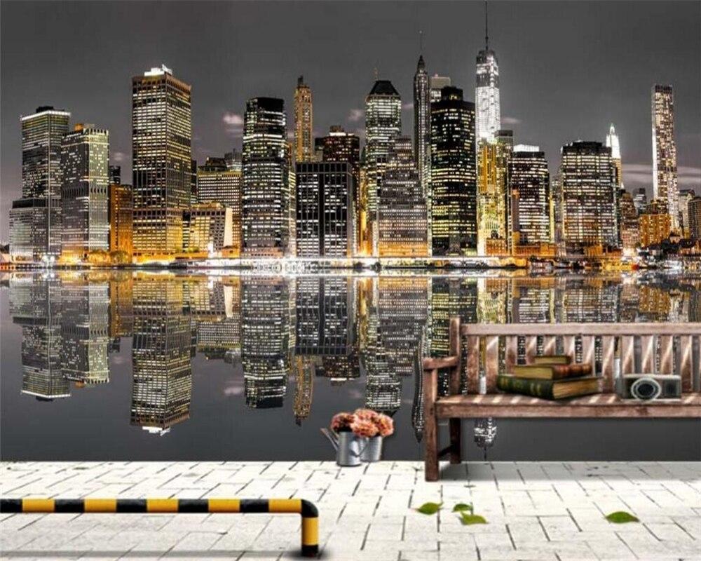 beibehang moderne 3d papier peint new york ville architecture nuit vue tv chambre 3d salon decoratif peintures papier peint