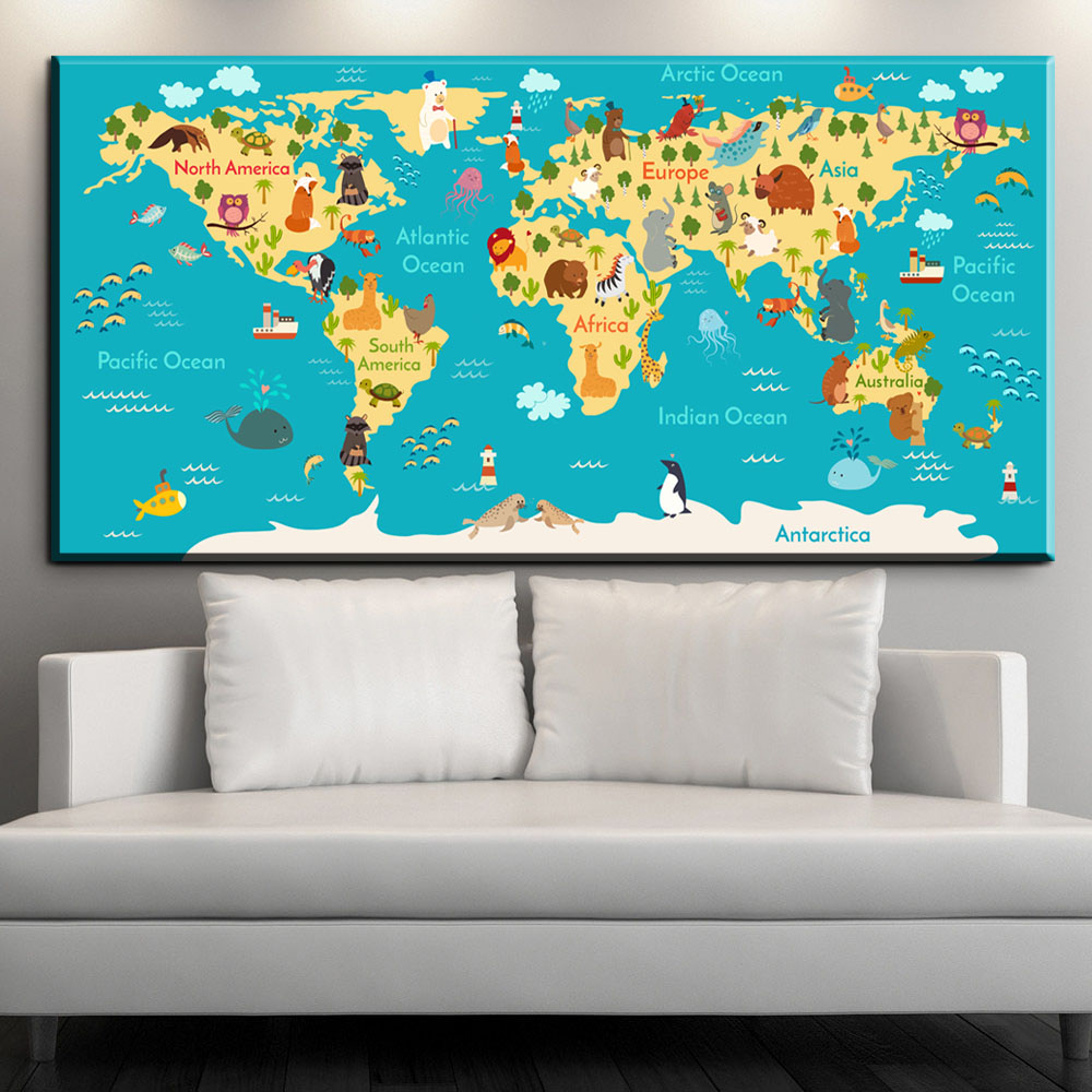 Zz1609 newest cartoon animals world map canvas pictures oil art zz1609 newest cartoon animals world map canvas pictures oil art painting for kids room baby nursery bookstore lovely decoration in painting calligraphy gumiabroncs Gallery