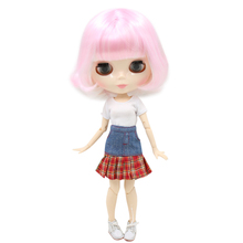 Factory Neo Blythe Doll Short Pink White Hair Jointed Body 30cm