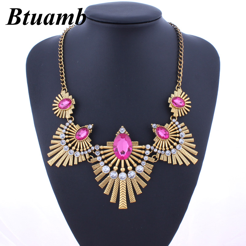 Btuamb Vintage Ethnic Crystal Necklaces Pendants for Women Jewelry Gypsy New Arrival Water Drop Geometric Statement Necklaces