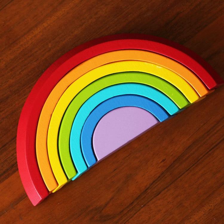 Hot Brand baby trä färg sortera regnbågsblå / Barn Barn geometrisk monteringsblock för tidigt lärande pedagogiska leksaker