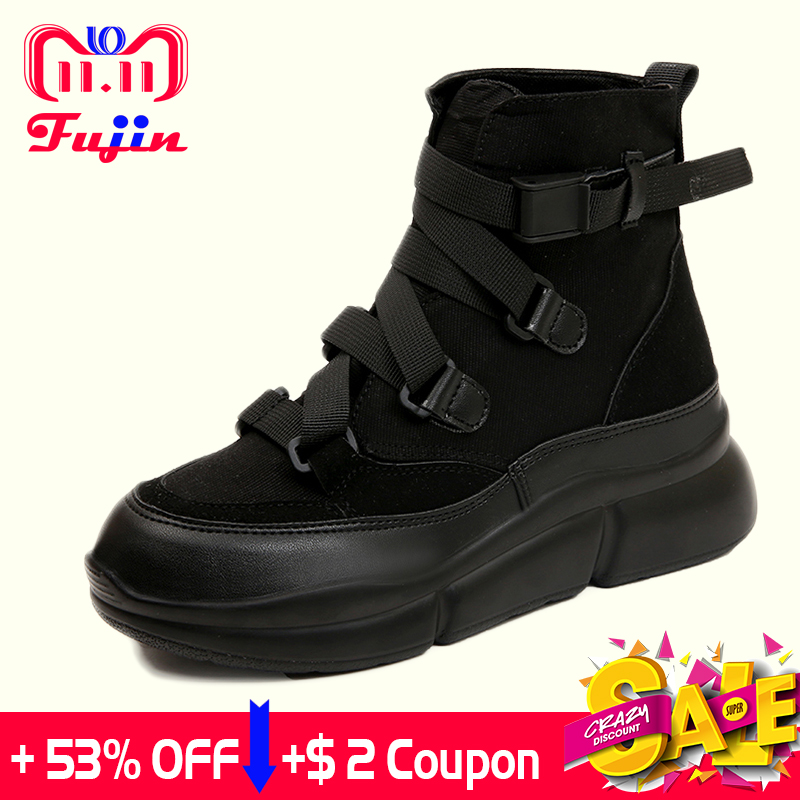 e22880c4756 Fujin 2018 New Arrival Canvas Ankle Boots For Women Hook Loop ...
