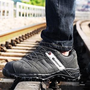 Image 1 - Zapatos de seguridad de punta de acero a la moda para hombre, botas de seguridad industriales, zapatillas informales de protección