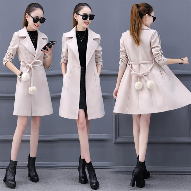 New Woolen Coat Coat Female Winter 2019 Long Section Large Size Slim Slimming Woolen Coat Tide Fashion Spring And Autumn Wild