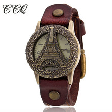CCQ Luxurious Model Leather-based Bracelet Watch Girls Roma VintageTower Watch Informal WristWatch Quartz Watch Relogio Feminino C33