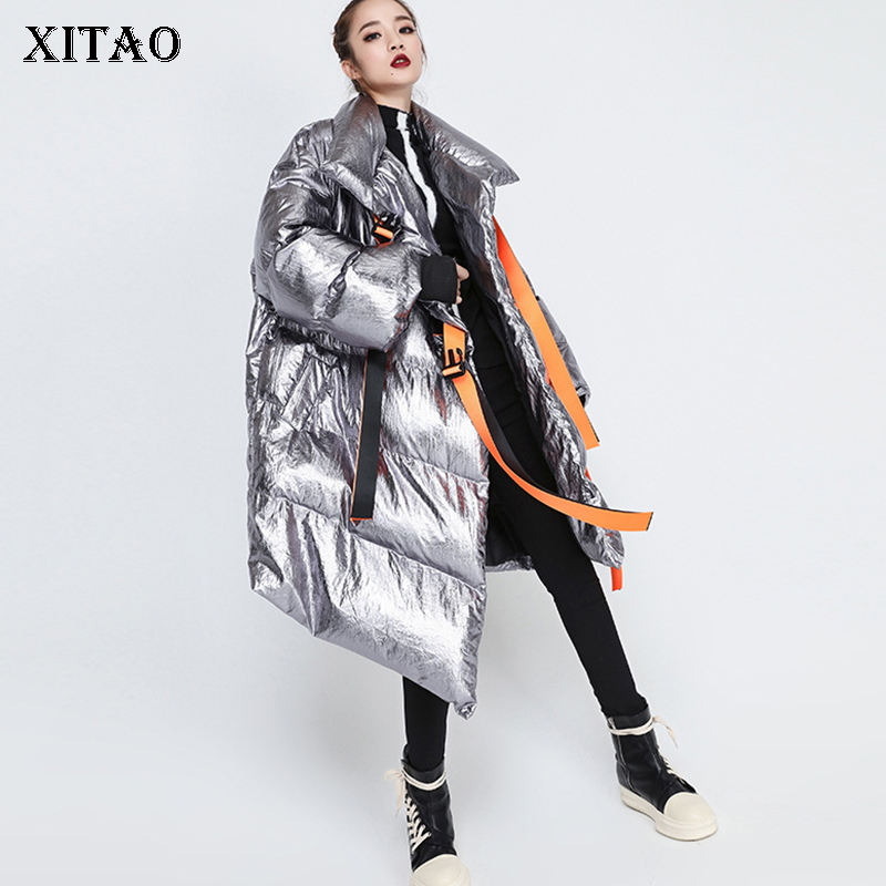 [XITAO] 2018 New Europe Fashion Women Autumn Asymmetrical Full Sleeve Loose   Parka   Female Solid Color Thick   Parka   ZLL1355