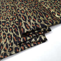 Sexy Leopard Polyester Brocade Jacquard Fabric with Metallic Gold Thread for Autumn Winter Dress Skirt Coat Sewing-AF917