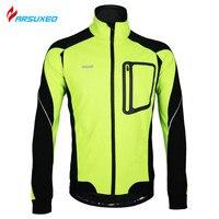ARSUXEO Winter Thermal Fleece Windproof Waterproof Long Sleeve Cycling Jersey Clothing Wear Reflective Cycling Sports Jacket