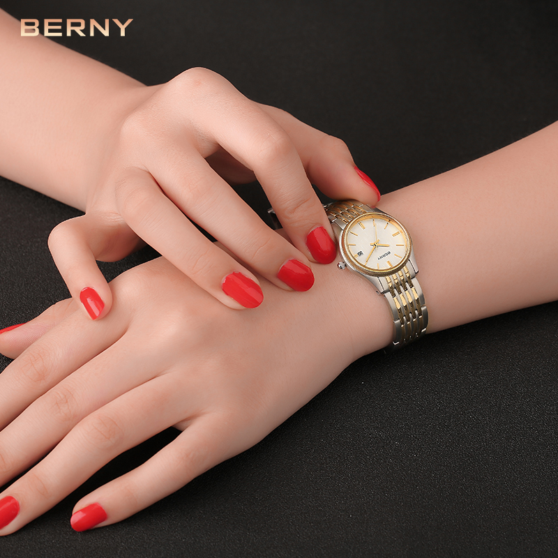 Reloj Berny para mujer, relojes de cuarzo para mujer, relojes de moda de marca superior de lujo, reloj Saat Montre Horloge Feminino Bayan Femme, movimiento japonés-in Relojes de mujer from Relojes de pulsera    3