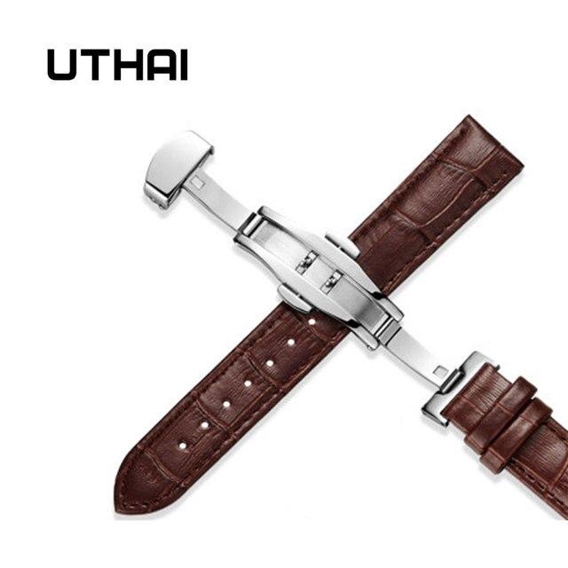 UTHAI Z09 Genuine Leather Watchbands 12-24mm Universal Watch Butterfly buckle Band Steel Buckle Strap Wrist Belt Bracelet + Tool 1