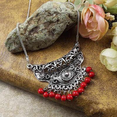 חדש טיבטי תכשיטי אופנה קלאסי פולק סגנון נשים של שרשרת אבן אבן סיטונאי בוהמיה פריטים