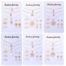 Модные свадебные ювелирные наборы для женщин Роскошные золотые Кристальные серьги-гвоздики любовь кулон ожерелья набор подарки NE+ BR+ EA+ RI