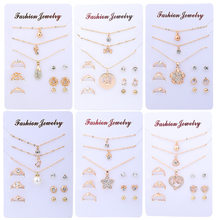 2019 Fashion Wedding Jewelry Sets for Women Luxury Gold Crystal Stud Earrings Love Pendant Necklaces Set Gifts NE+BR+EA+RI(China)