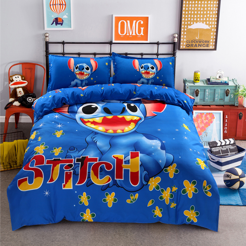 Disney Lilo and Stitch Bedding Set 3/4 Pieces Blue Comforter Cover 3D Boy Room Decor Bed Clothes Summer Bed Cover Pillow CasesDisney Lilo and Stitch Bedding Set 3/4 Pieces Blue Comforter Cover 3D Boy Room Decor Bed Clothes Summer Bed Cover Pillow Cases