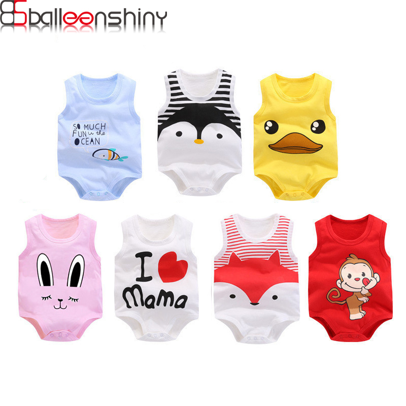 BalleenShiny Newborn Baby Cotton Romper Infant Cartoon I Love MAMA Letter Sleeveless Jumpsuit Kids Clothes For Boys&Girls Summer summer 2017 baby kids girl boy infant summer sleeveless romper harlan jumpsuit clothes outfits 0 24m
