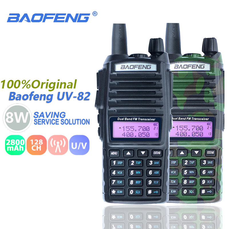 Baofeng UV-82 8 watt Walkie Talkie Dual Band Dual PTT VHF UHF Two Way Radio Baofeng UV 82 CB Radio station Portable UV82 Transceiver