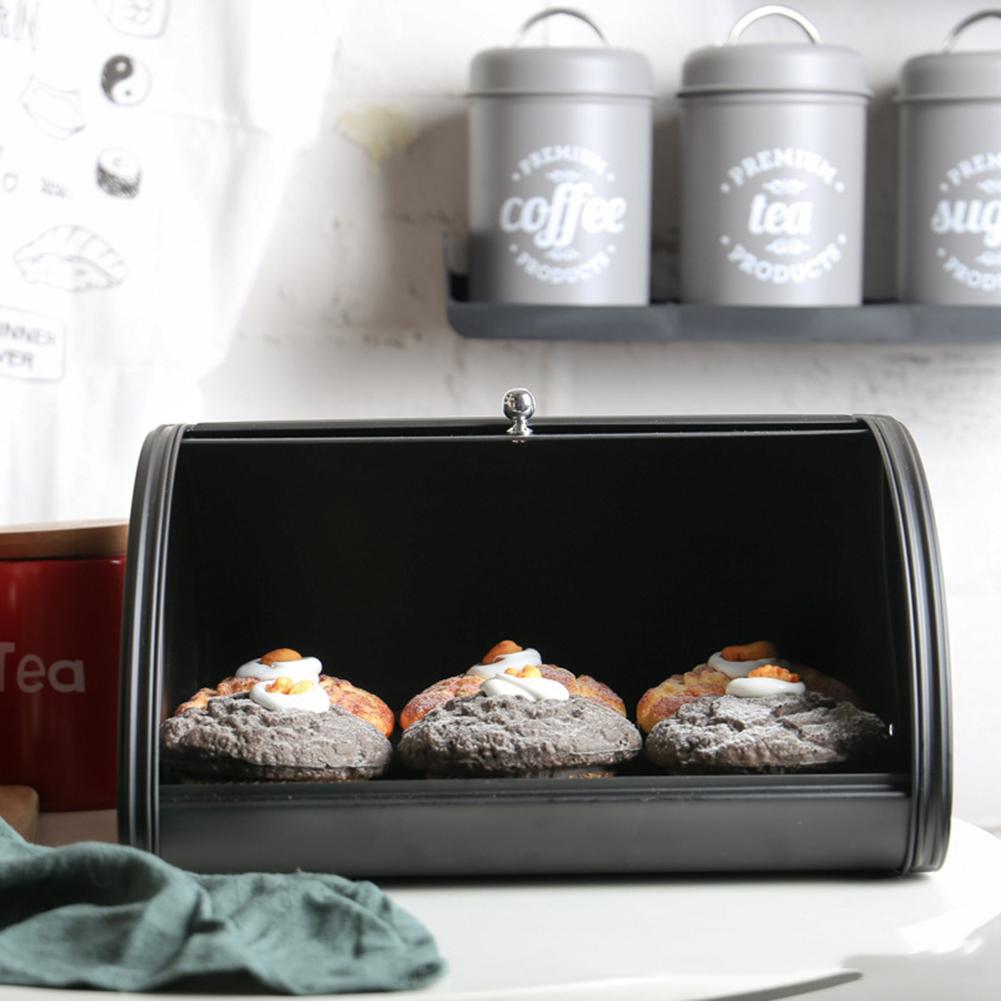 30x20.5x16.5 cm antipoussière fer galvanisé boulangerie bonbons pâtisseries bac pain boîte de rangement cuisine métal pain Bin