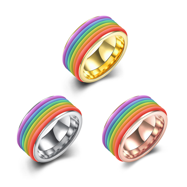 Jenia Hot Sale Gay Pride Rainbow Titanium Steel Ring For Men Round