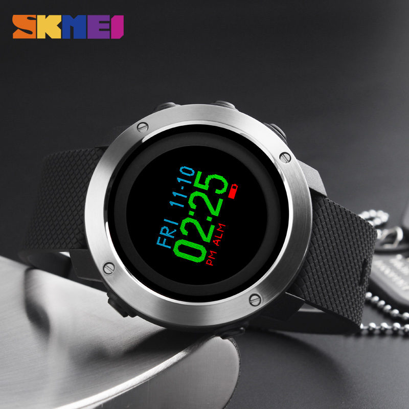 Skmei Sport Fashion Man Watch Water Resisitant Led Display Casual Stainless Steel Wristwatch 2 Time Week Display Outdoor Clock Watches Men's Watches