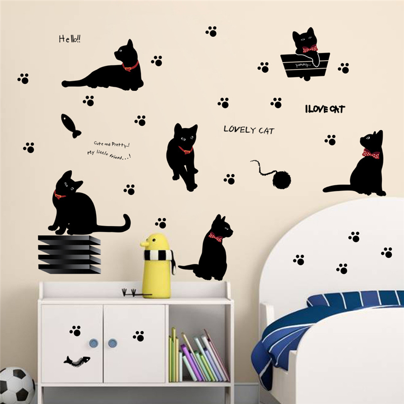 Lovely Playing Cats Animals Wall Stickers Kids Room Decoration 843 Home Decals Kitten Printing Mural