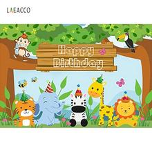 Photography Backdrops Baby Cartoon Jungle Safari Birthday Party Animals Poster Portrait Photographic Background Photo Studio