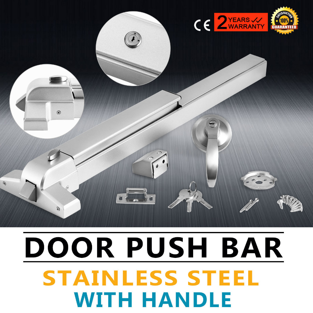 Door Push Bar-Panic Exit Device Lock Emergency Hardware Latches W/ External Lever