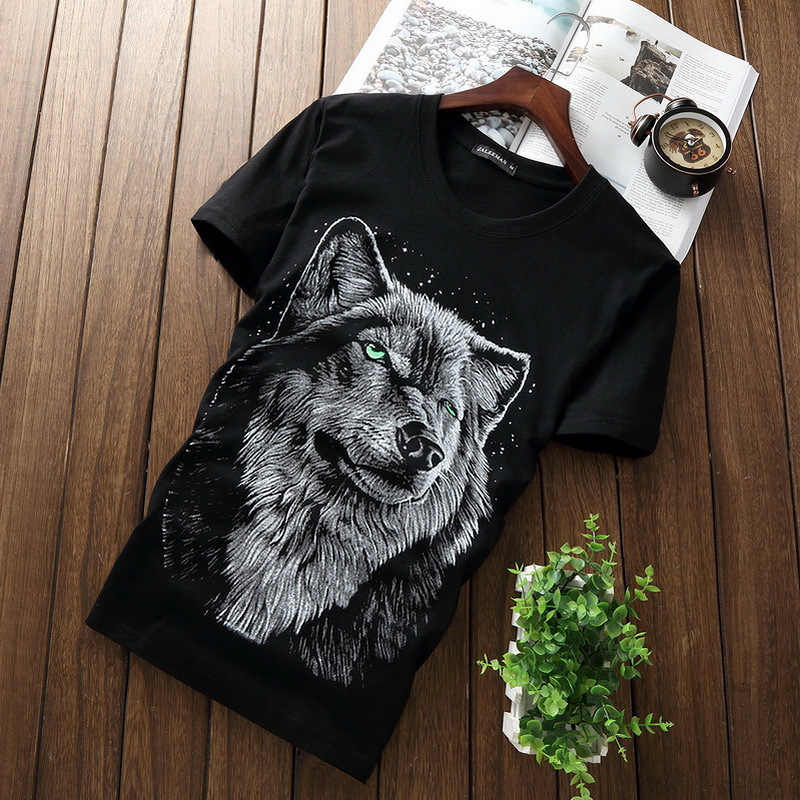 T1287-A1138 Cheap wholesale 2017 summer new Men's short sleeve T-shirt printed cotton round collar tide 3 d a Wolf