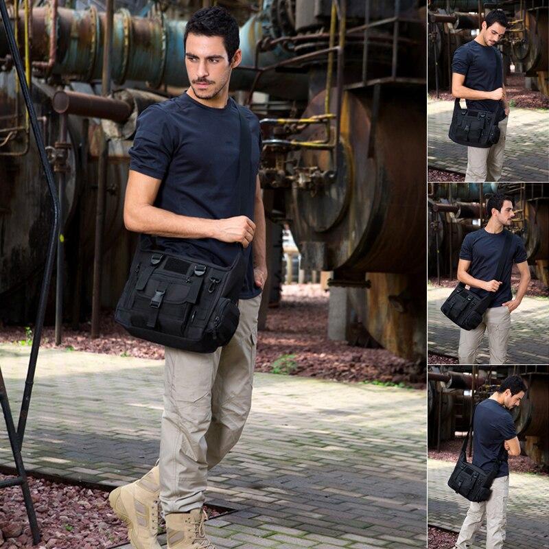 "Protector Plus Men's Tactical Sling Shoulder Bag Men's Outdoor Messenger Bag For 14"" Laptop Waterproof Military Crossbody Bag"