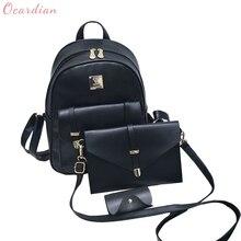Ocardian 2017, новая мода высокое качество Для женщин симпатичный кожаный рюкзак 3 комплекта школьный рюкзак Сумки челнока 170816