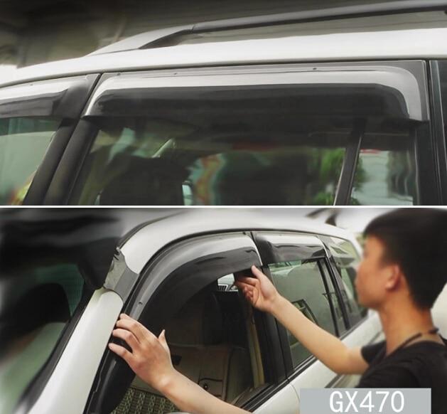 4pcs Door Window Sun Visor Deflectors Rain Shield Sun Guard For Lexus GX470 2003-2009