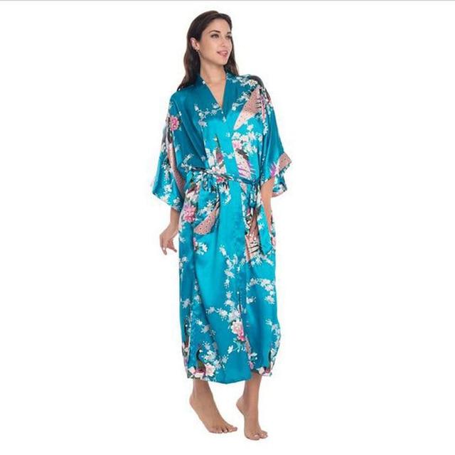 eb0a97b35714 BIRU Cina Wanita Panjang Sutra Rayon Jubah Kimono Yukata Mandi Gaun Sexy  Lingerie Baju Tidur Bunga