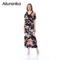 Ailunsnika 2017 Vestidos Mujer Bohemian Women Beach Maxi Dress Black Print Short Sleeve Ankle Length Plus Size Dress SW228-8