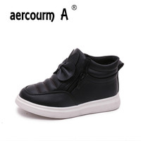 aercourm A Girls Boots Children Martin Boots Single Ankle Boots Kids Winter Plush Shoes Bow Casual Flat Sneakers Red Pink 27 37