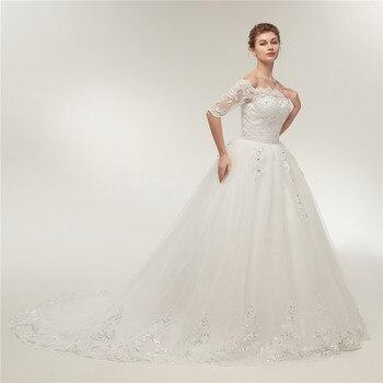Fansmile Vintage Lace Train Wedding Dresses Long Sleeve 2019 Plus Size Wedding Gowns Vestidos de Novia Tulle Mariage FSM-130T 1