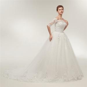 Image 2 - Fansmile robes de mariée Vintage en dentelle, en Tulle, robes de mariée à manches longues, taille grande, 2020, FSM 130T