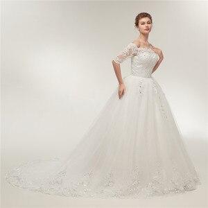 Image 2 - Женское свадебное платье со шлейфом Fansmile, винтажное кружевное платье из фатина с длинным рукавом, модель 2020