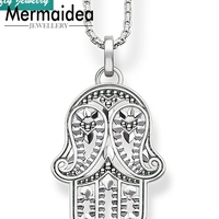 Amulets Hand of Fatima Pendants Necklaces Trendy Style 925 Silver Hamsa Hand Fashion Cool Jewelry Women Link Chain Jewellery