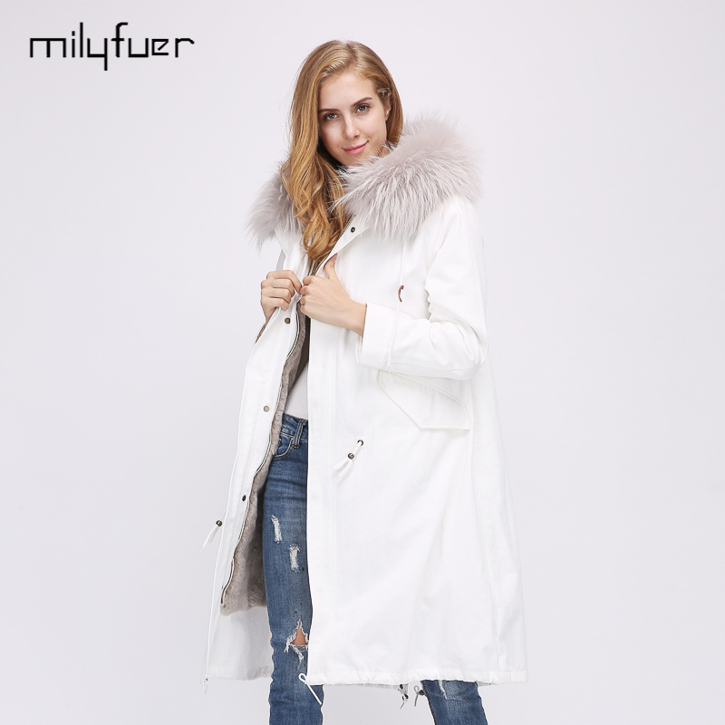 Milyfuer Fashion Women Parka Solid White Full Sleeve Hooded Raccoon Collar Rabbit Fur Inside Full Sleeve Winter Warm Parkas Coat 2017 winter new clothes to overcome the coat of women in the long reed rabbit hair fur fur coat fox raccoon fur collar