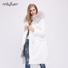Milyfuer Fashion Women Parka Solid White Full Sleeve Hooded Raccoon Collar Rabbit Fur Inside Full Sleeve Winter Warm Parkas Coat