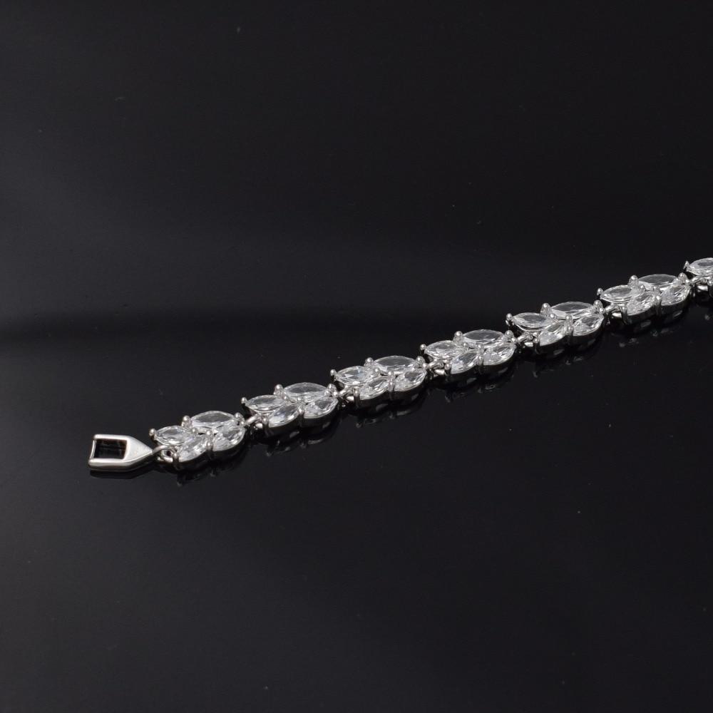 2019 Luxury White Crystal Bracelet For Wedding Silver Bracelet AAA Cubic Zircon Charm Women Bangles Jewelry Pulseira Feminina in Chain Link Bracelets from Jewelry Accessories