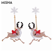 MISHA Chic Stud Earrings For Women Snowflakes Elk Design Christmas Gift Earrings For Ladies Charm Jewelry L729 pair of chic snowman christmas earrings jewelry for women