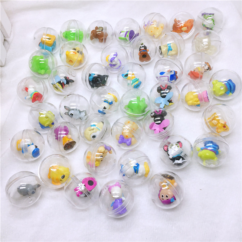 50pc/Pack Diameter 2.8cm Clear Plastic Capsules Toy Balls With Different Figure Toys Mini Dolls Mix For Vending Machine