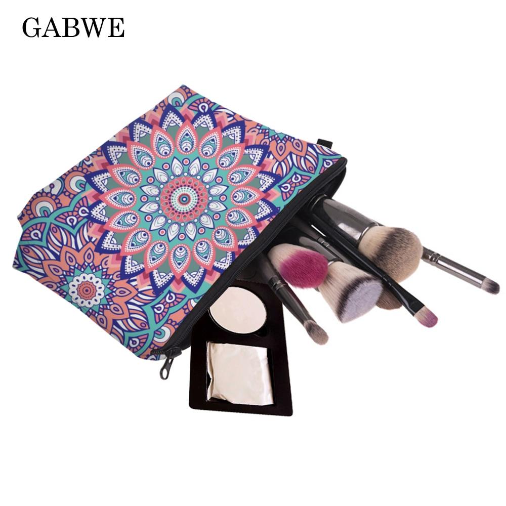 GABWE Mandala Turquoise 3D Print Women Cosmetics Case Makeup Bag Organizer Neceser Maleta De Maquiagem Vanity Fashion Make Up