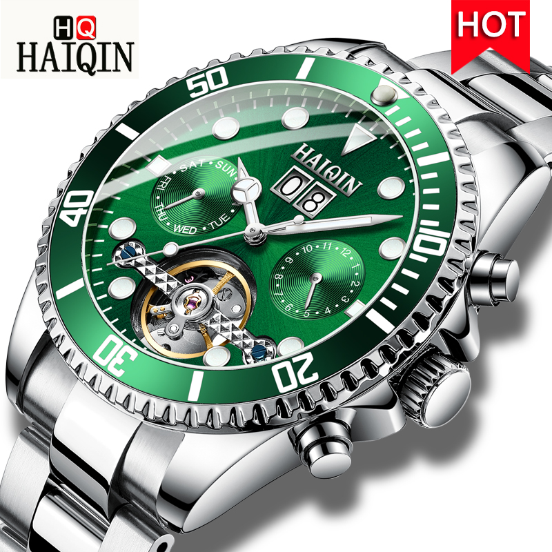 HAIQIN Automatic Watch Men Calendar Luxury Wristwatch Waterproof Tourbillon Mechanical Watch Military Watch Relogio Masculino