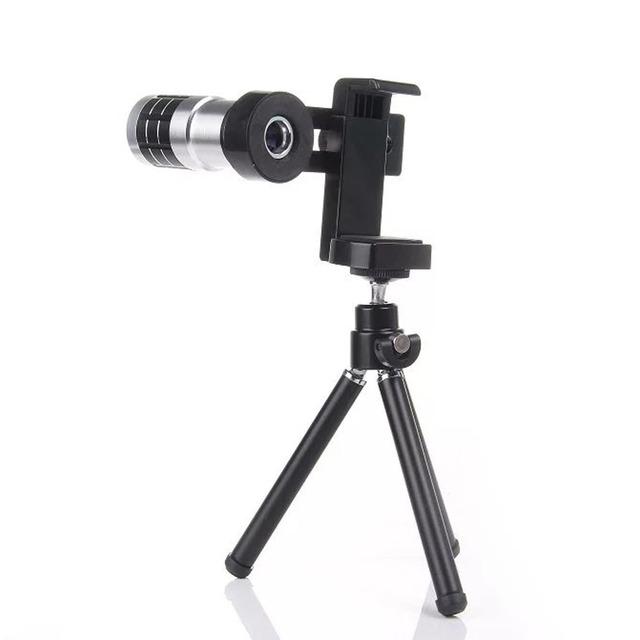 De Metal Universal 12x Zoom Lente Clipe Destacável Telefone Portátil Kit Câmera com Tripé para iPhone Samsung todos os Smartphones